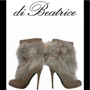 Di Beatrice Gray suede rabbit fur boots size 39